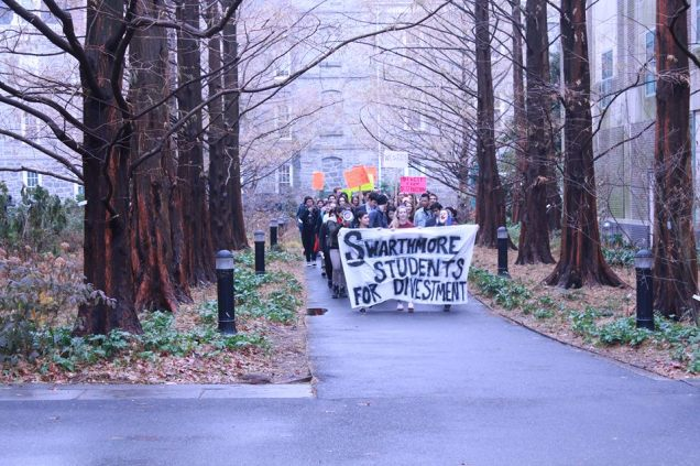 Swarthmore Students Marching to Deliver Letter to the Board